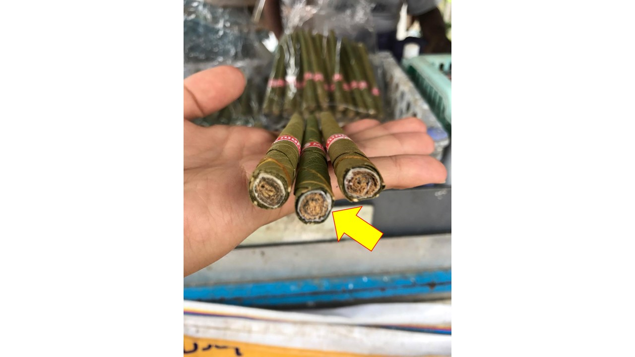 ミャンマーの葉巻、フィルター部分