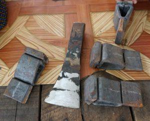 材料の鉄と加工した製品
